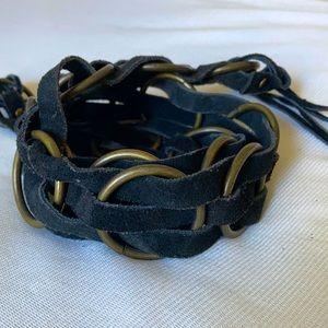 Vintage suede and brass boho Belt